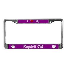 Purple I Love My Ragdoll Cat License Plate Frame