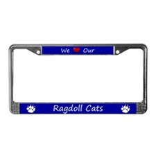 Blue We Love Our Ragdoll Cats License Plate Frame