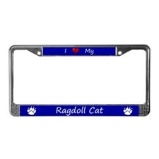 Blue I Love My Ragdoll Cat License Plate Frame