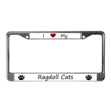 White I Love My Ragdoll Cats License Plate Frame