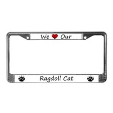 White We Love Our Ragdoll Cat License Plate Frame
