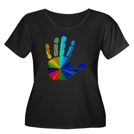 Hand Women's Plus Size Scoop Neck Dark T-Shirt
