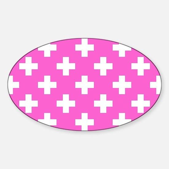 Pink Plus Signs Pattern Sticker (Oval)