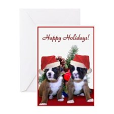 Christmas boxer puppies Greeting Card