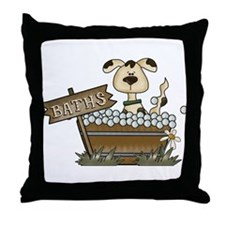 Dog Bath Throw Pillow