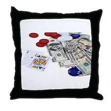 Gambling money Throw Pillow