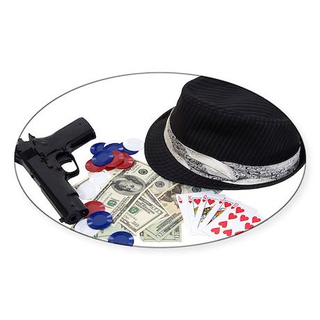 Gangster gambling kit Oval Sticker (10 pk)