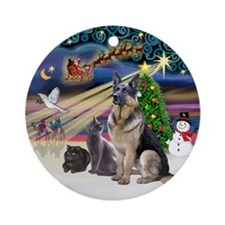 XmasMagic-GShep-2 Cats Ornament (Round)