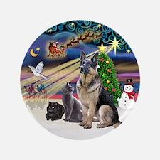 "XmasMagic-GShep-2 Cats 3.5"" Button"