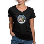 XmasMagic-GShep-2 Cats Women's V-Neck Dark T-Shirt