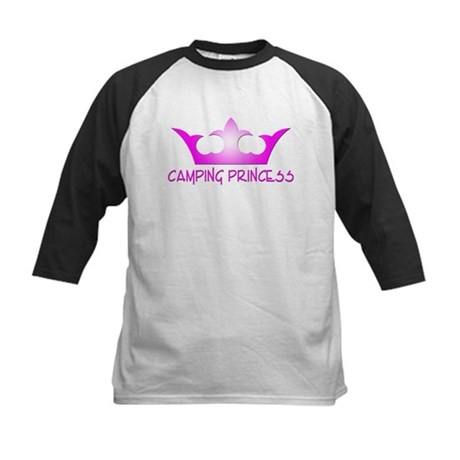 Camping Princess - Hot Pink Kids Baseball Jersey