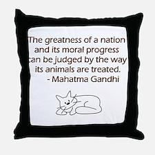 Gandhi Cat Quote Throw Pillow
