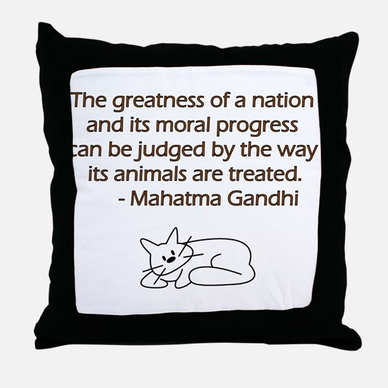 Gandhi Cat Quote Throw Pillow