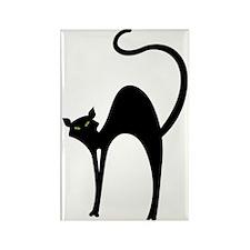 Retro Black Cat Rectangle Magnet