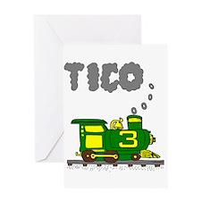 Tico 3 Green & Yellow Train Greeting Card