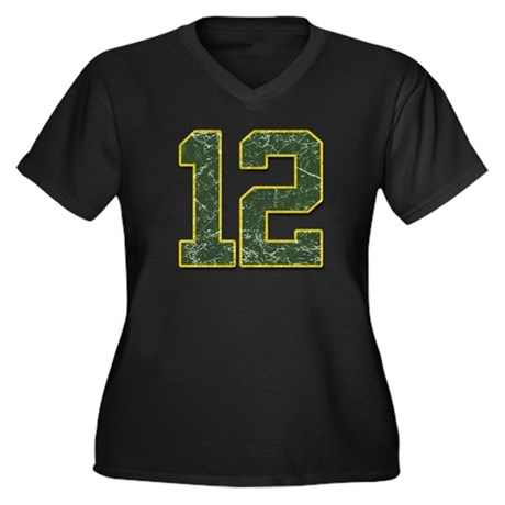 12 Aaron Rodgers Packer Marbl Women's Plus Size V-