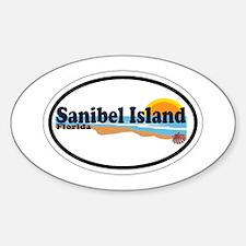 Sanibel Island FL - Beach Design Oval Decal
