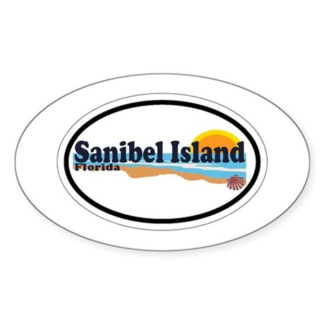 Sanibel Island FL - Beach Design Oval Sticker