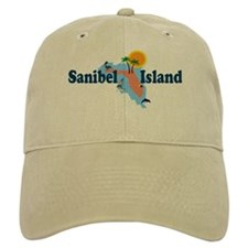 Sanibel Island FL - Map Design Baseball Cap