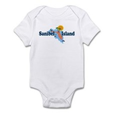 Sanibel Island FL - Map Design Infant Bodysuit