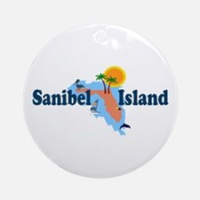 Sanibel Island FL - Map Design Ornament (Round)