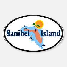 Sanibel Island FL - Map Design Oval Decal