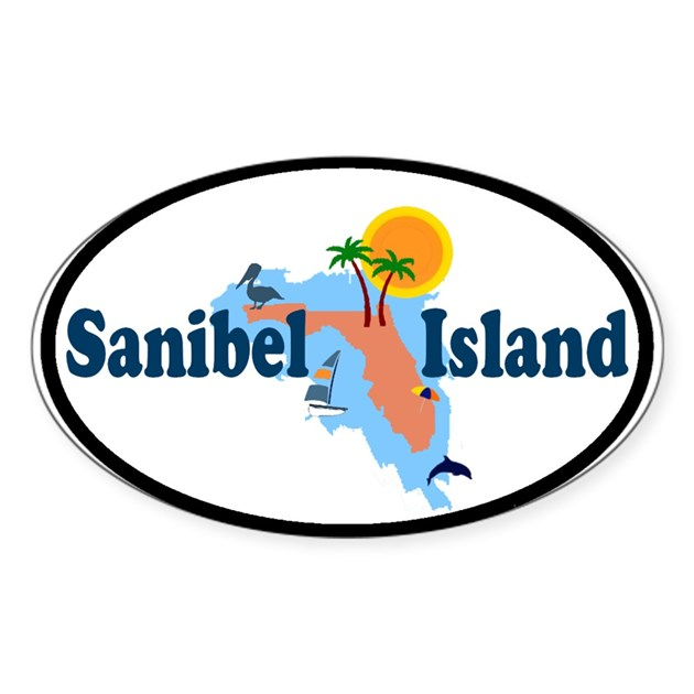 Sanibel Island Fl Map Design Oval Decal By Ishore