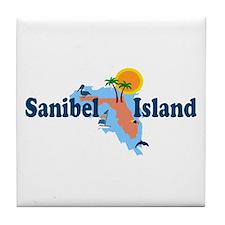 Sanibel Island FL - Map Design Tile Coaster