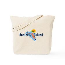 Sanibel Island FL - Map Design Tote Bag