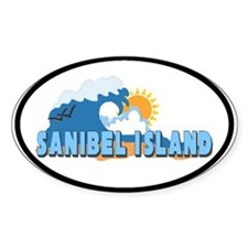 Sanibel Island FL - Waves Design Oval Decal