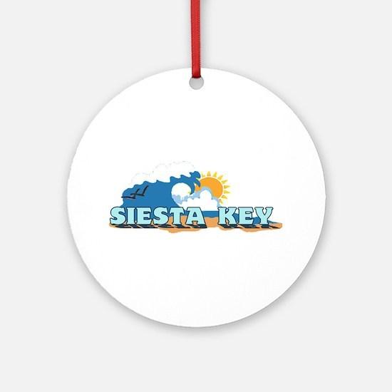 Siesta Key FL - Waves Design Ornament (Round)