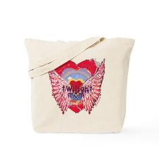 Twilight Mom Crimson Grunge Winged Crest Tote Bag