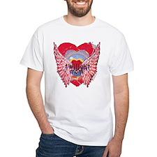 Twilight Mom Crimson Grunge Winged Crest Shirt