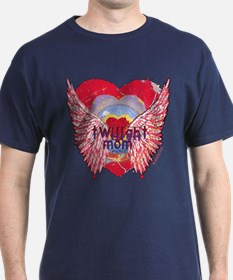 Twilight Mom Crimson Grunge Winged Crest T-Shirt