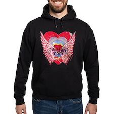 Twilight Mom Crimson Grunge Winged Crest Hoodie