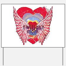 Twilight Mom Crimson Grunge Winged Crest Yard Sign