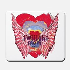 Twilight Mom Crimson Grunge Winged Crest Mousepad