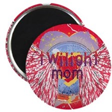 Twilight Mom Crimson Grunge Winged Crest Magnet