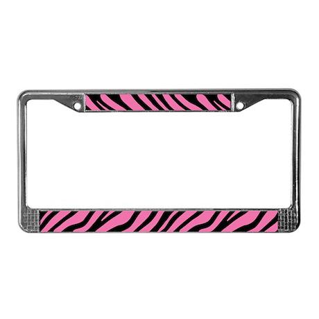Pink Zebra Stripe Motif License Plate Frame