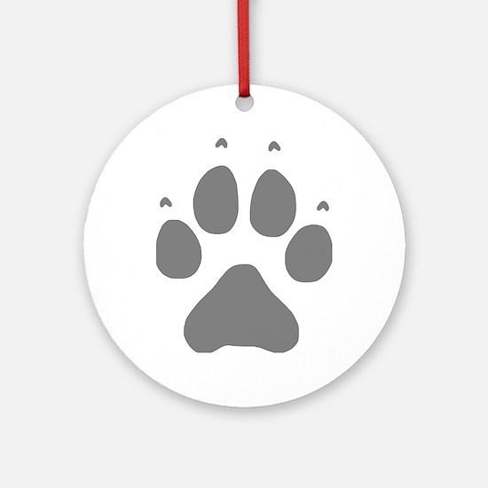 Wolf Paw Print Round Ornament