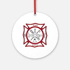 Fire Dept Maltese Cross Ornament (Round)