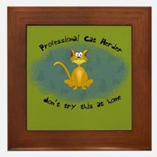 Professional Cat Herder Funny Framed Tile