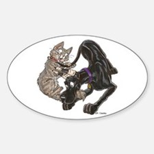 CBlk & Kitten Tail Play Oval Decal