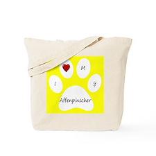Yellow I Love My Affenpinscher Tote Bag