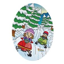 Fiaba's Snowmobile Adventure Oval Ornament
