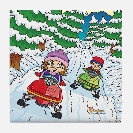 Fiaba's Snowmobile Adventure Tile Coaster