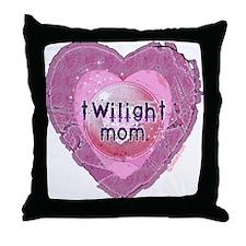 Twilight Mom Lilac Grunge Heart Crest Throw Pillow