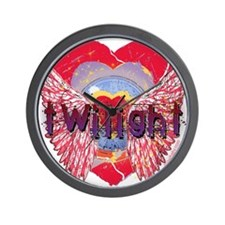 Twilight Mystic Crimson Heart Wings Wall Clock