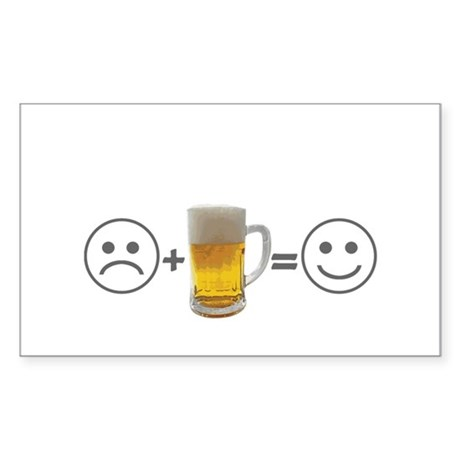 Beer makes me happy Rectangle Sticker