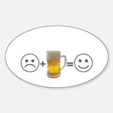 Beer makes me happy Oval Sticker (10 pk)